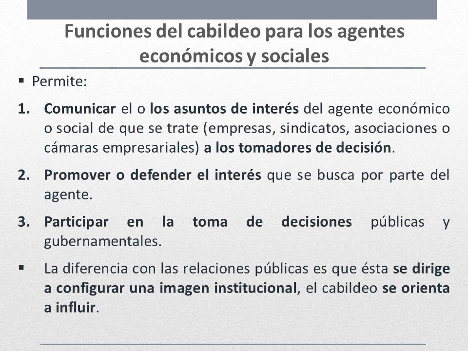 Funciones del cabildeo para los agentes económicos y sociales