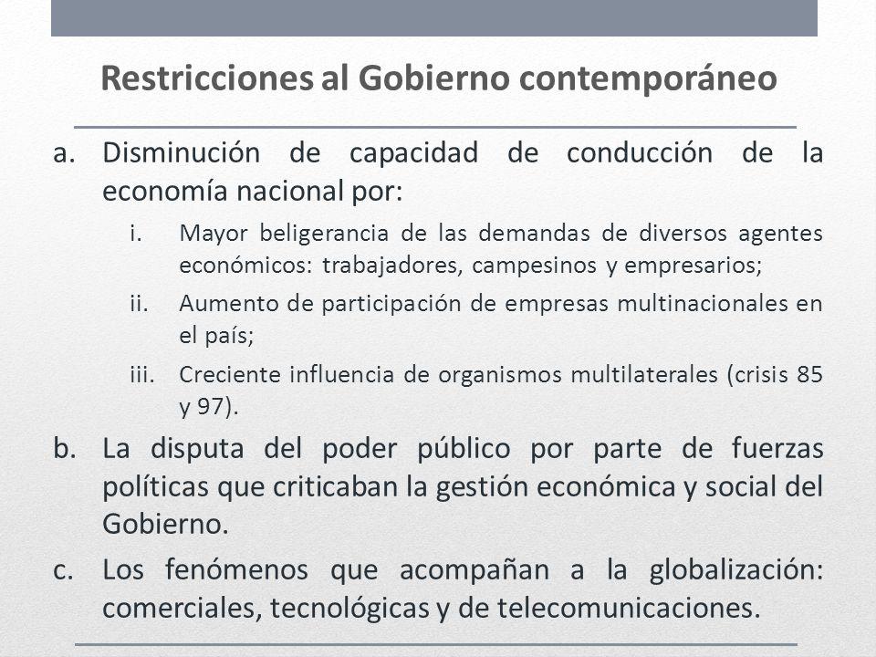 Restricciones al Gobierno contemporáneo