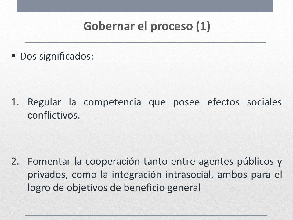 Gobernar el proceso (1) Dos significados: