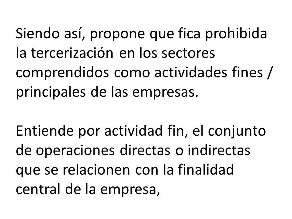 Siendo así, propone que fica prohibida la tercerización en los sectores comprendidos como actividades fines / principales de las empresas.