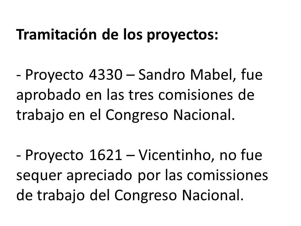 Tramitación de los proyectos: - Proyecto 4330 – Sandro Mabel, fue aprobado en las tres comisiones de trabajo en el Congreso Nacional.