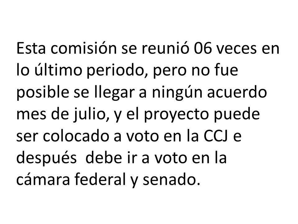 Esta comisión se reunió 06 veces en lo último periodo, pero no fue posible se llegar a ningún acuerdo mes de julio, y el proyecto puede ser colocado a voto en la CCJ e después debe ir a voto en la cámara federal y senado.