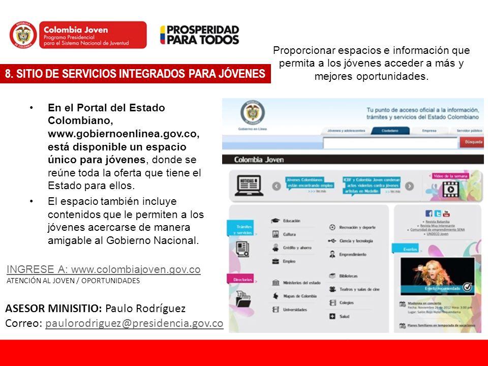 8. SITIO DE SERVICIOS INTEGRADOS PARA JÓVENES