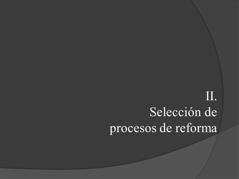 II. Selección de procesos de reforma