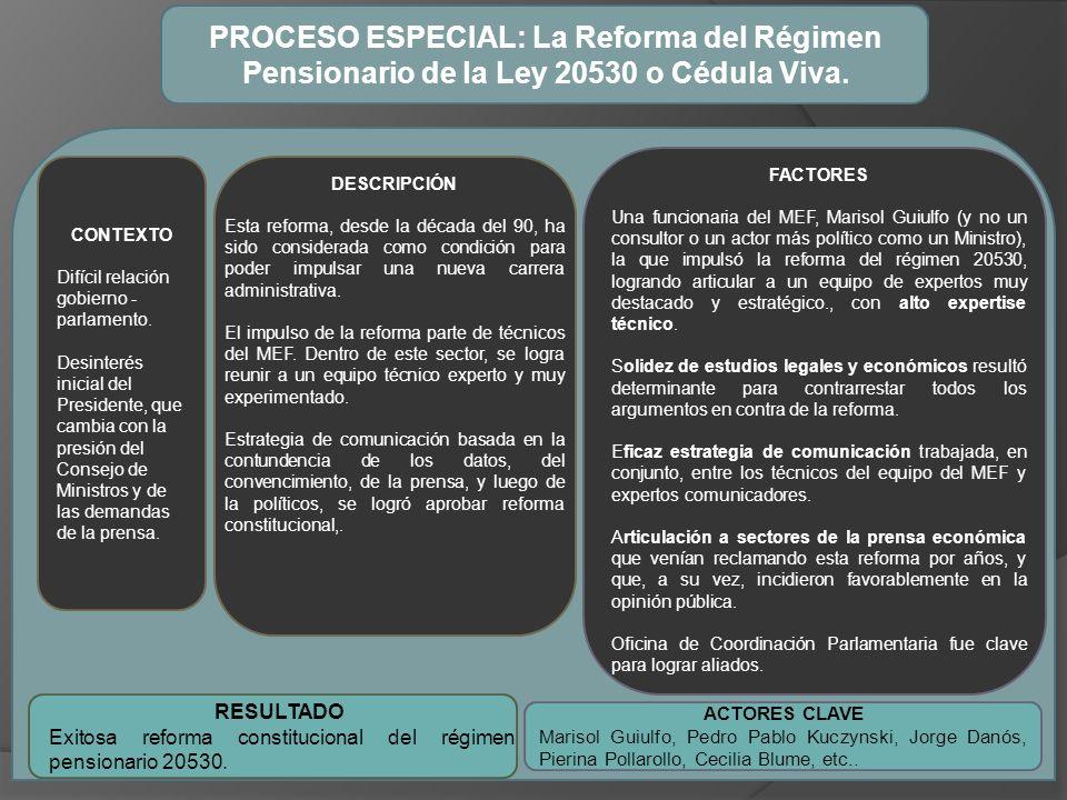 PROCESO ESPECIAL: La Reforma del Régimen Pensionario de la Ley 20530 o Cédula Viva.