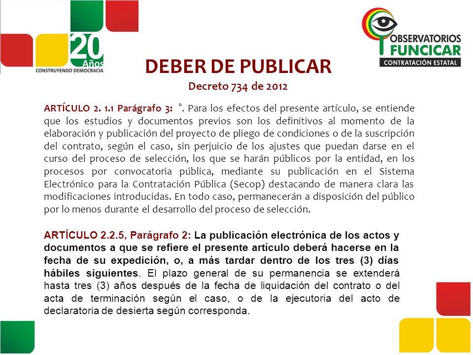 DEBER DE PUBLICAR Decreto 734 de 2012