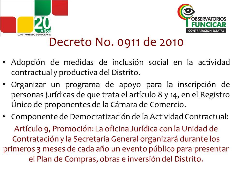 Decreto No. 0911 de 2010 Adopción de medidas de inclusión social en la actividad contractual y productiva del Distrito.