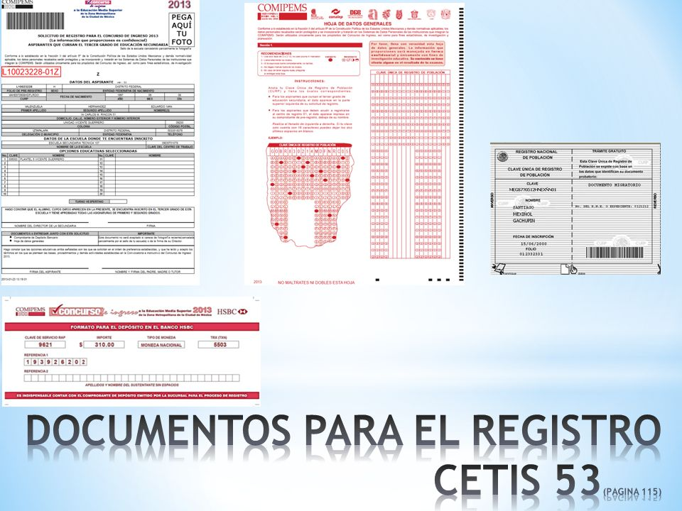 DOCUMENTOS PARA EL REGISTRO