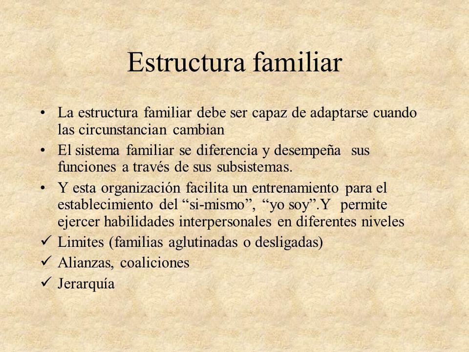 Estructura familiarLa estructura familiar debe ser capaz de adaptarse cuando las circunstancian cambian.