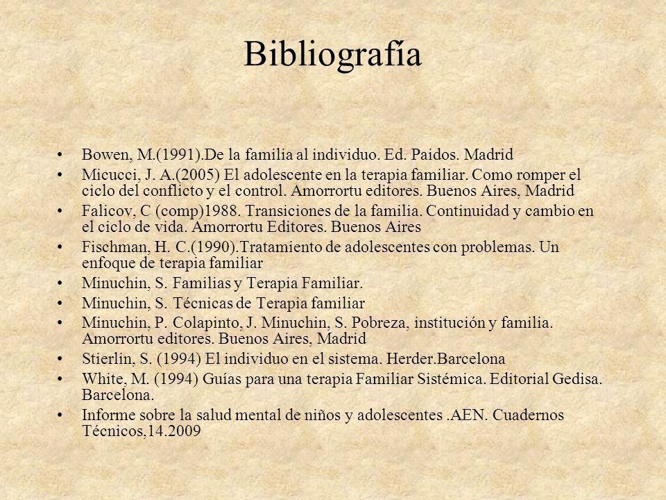 Bibliografía Bowen, M.(1991).De la familia al individuo. Ed. Paidos. Madrid.