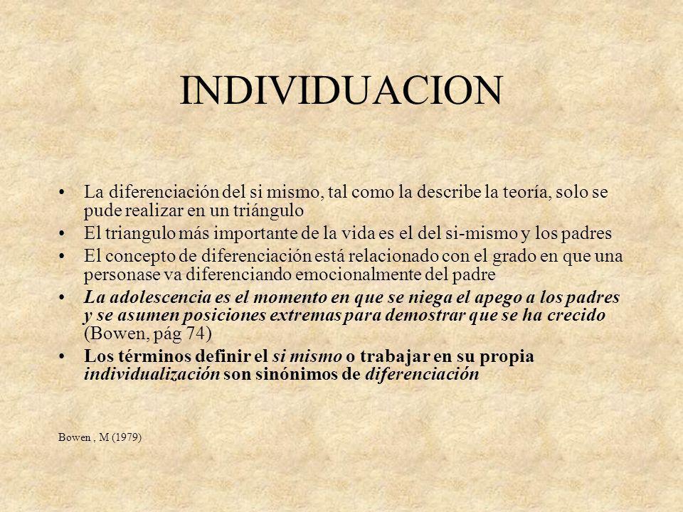 INDIVIDUACION La diferenciación del si mismo, tal como la describe la teoría, solo se pude realizar en un triángulo.