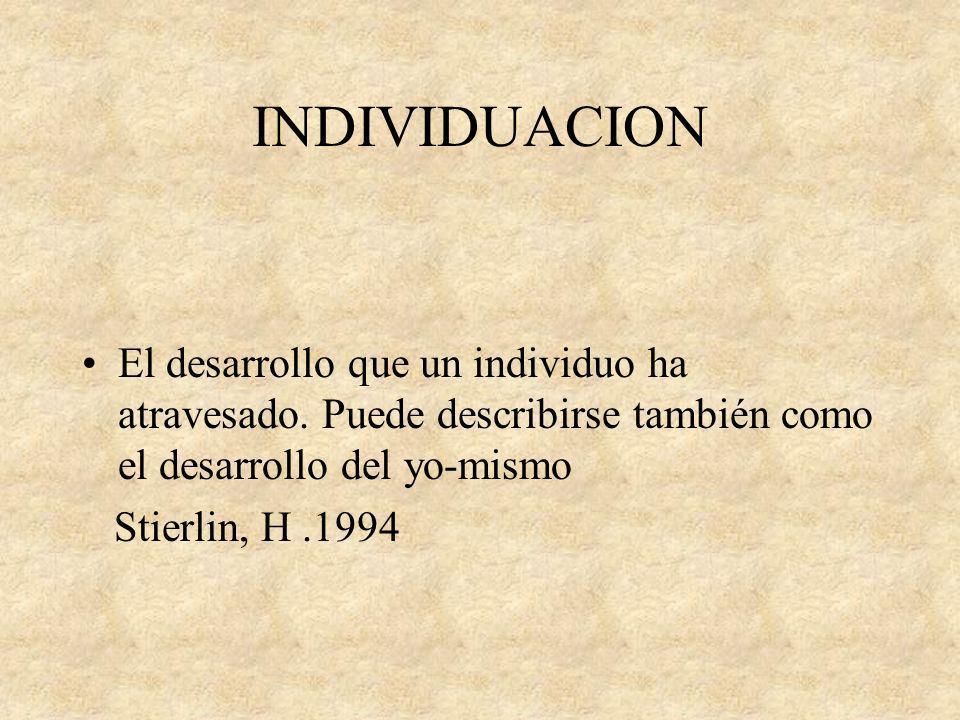INDIVIDUACION El desarrollo que un individuo ha atravesado. Puede describirse también como el desarrollo del yo-mismo.