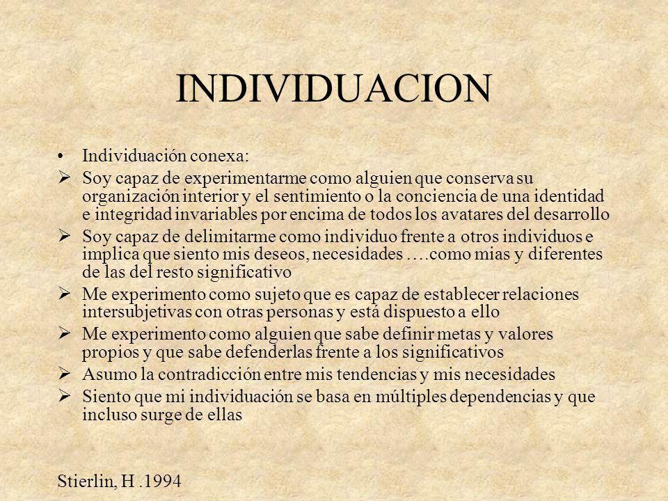 INDIVIDUACION Individuación conexa: