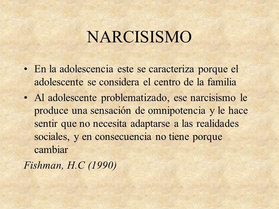 NARCISISMO En la adolescencia este se caracteriza porque el adolescente se considera el centro de la familia.