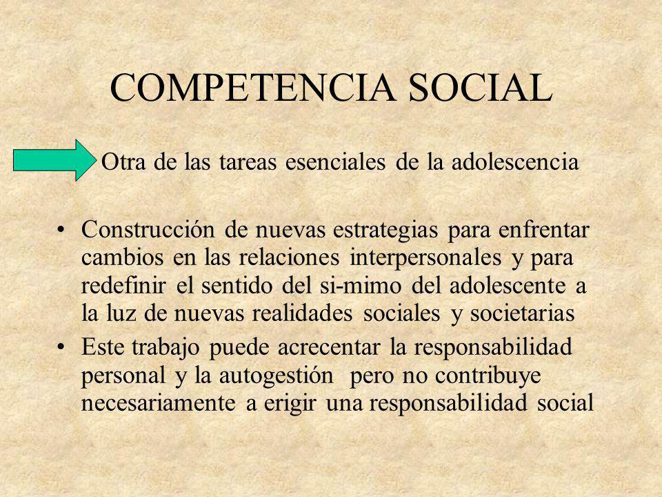 COMPETENCIA SOCIAL Otra de las tareas esenciales de la adolescencia