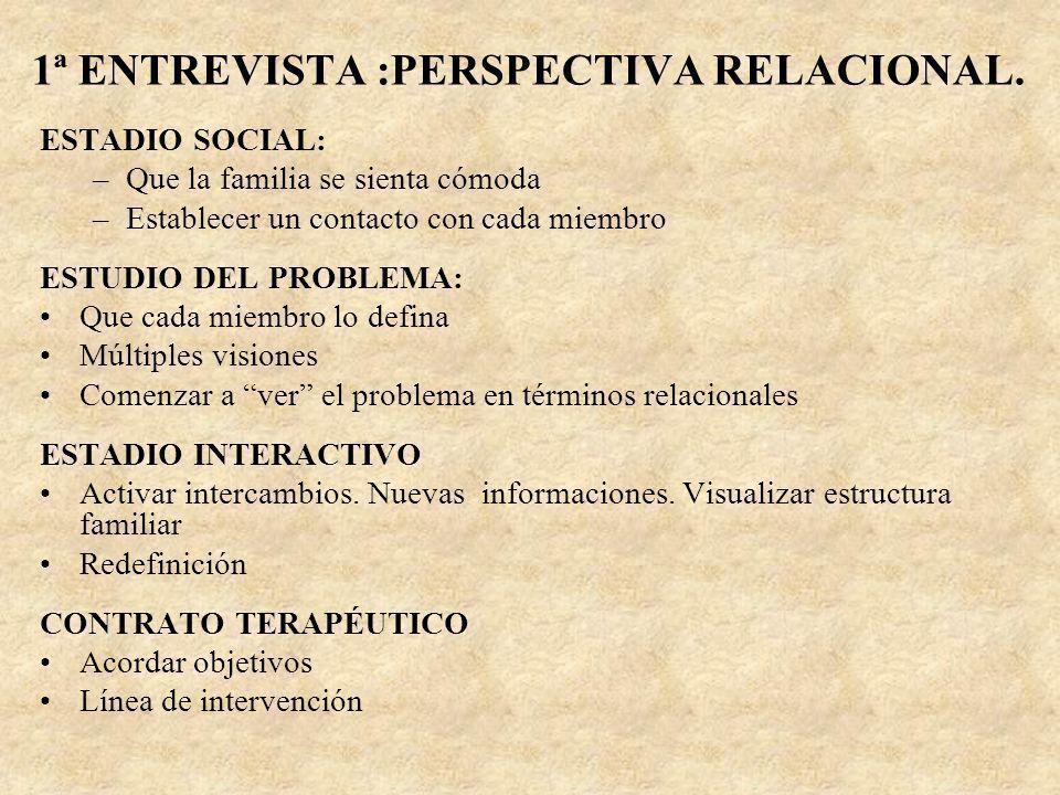 1ª ENTREVISTA :PERSPECTIVA RELACIONAL.
