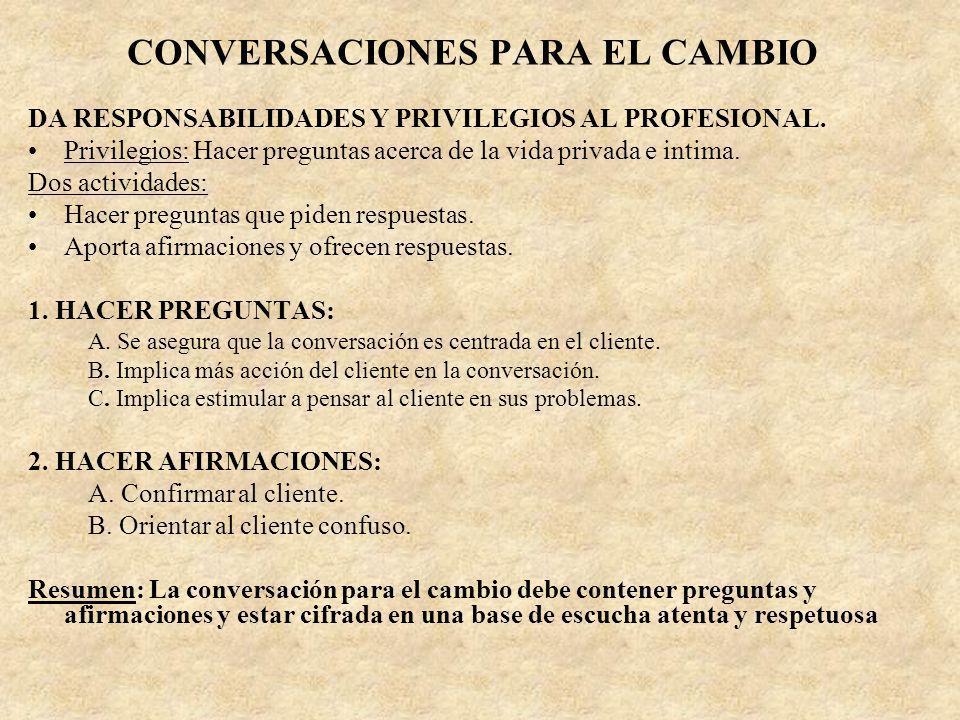 CONVERSACIONES PARA EL CAMBIO