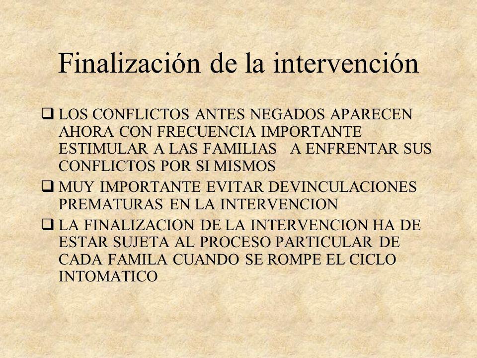 Finalización de la intervención
