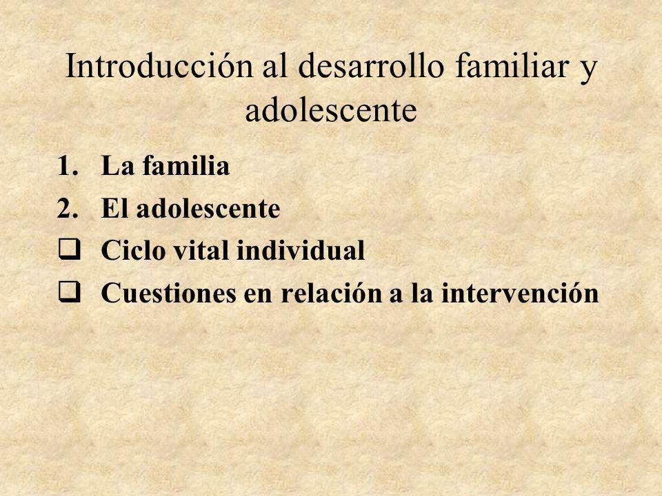 Introducción al desarrollo familiar y adolescente