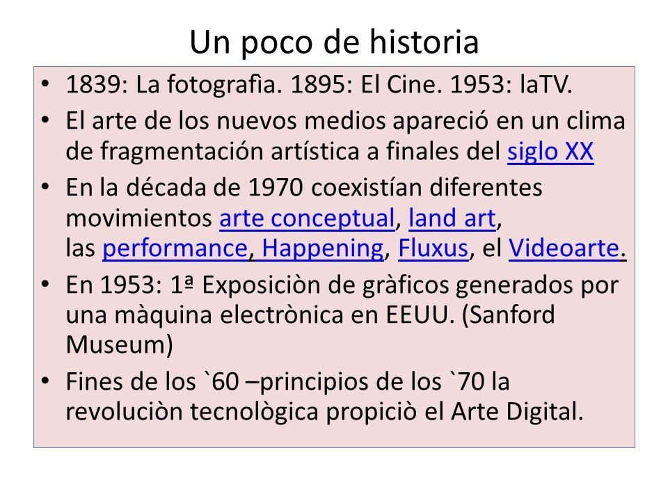 Un poco de historia 1839: La fotografìa. 1895: El Cine. 1953: laTV.