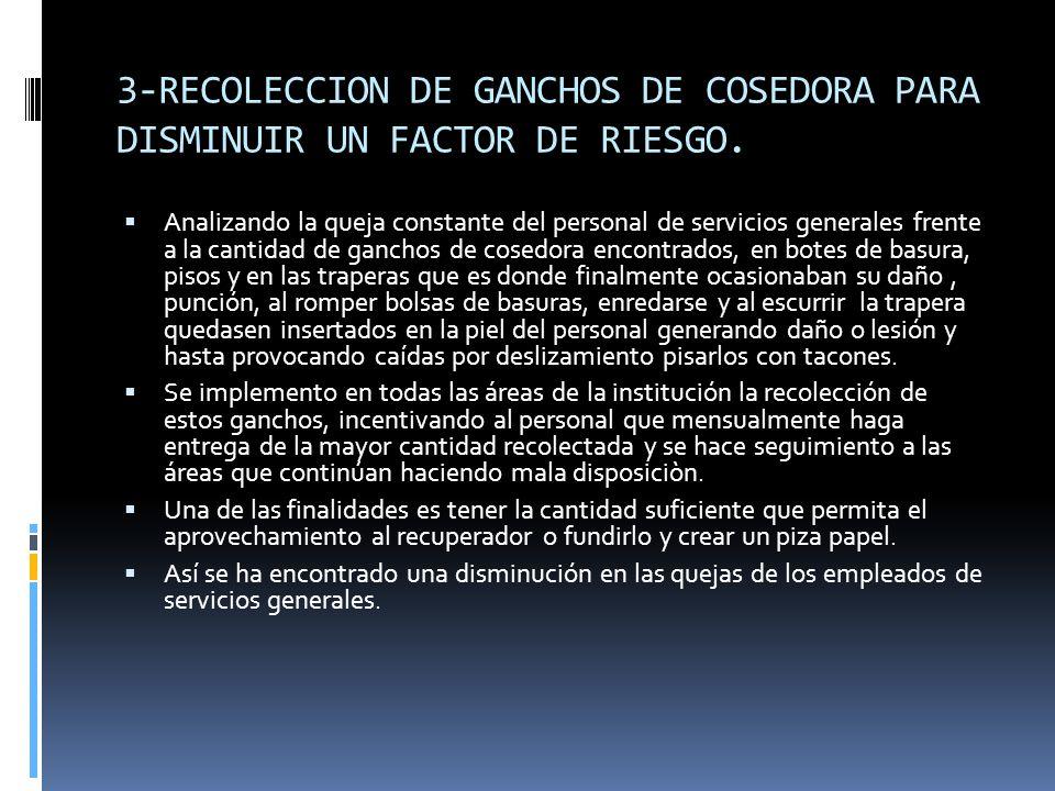 3-RECOLECCION DE GANCHOS DE COSEDORA PARA DISMINUIR UN FACTOR DE RIESGO.