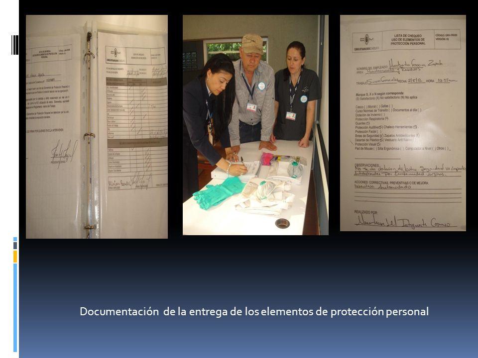 Documentación de la entrega de los elementos de protección personal