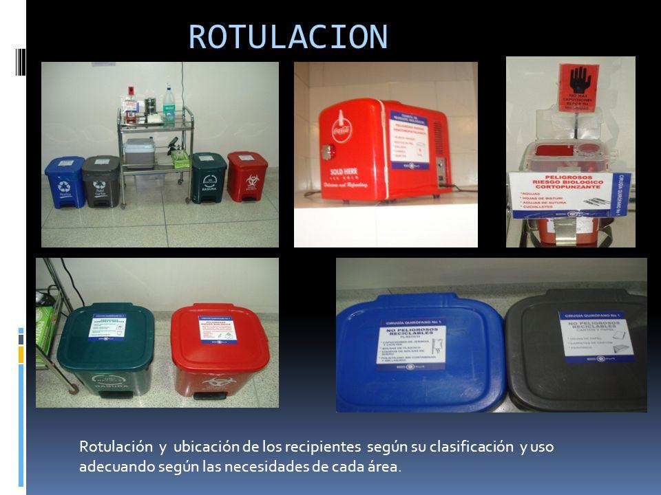 ROTULACION Rotulación y ubicación de los recipientes según su clasificación y uso adecuando según las necesidades de cada área.