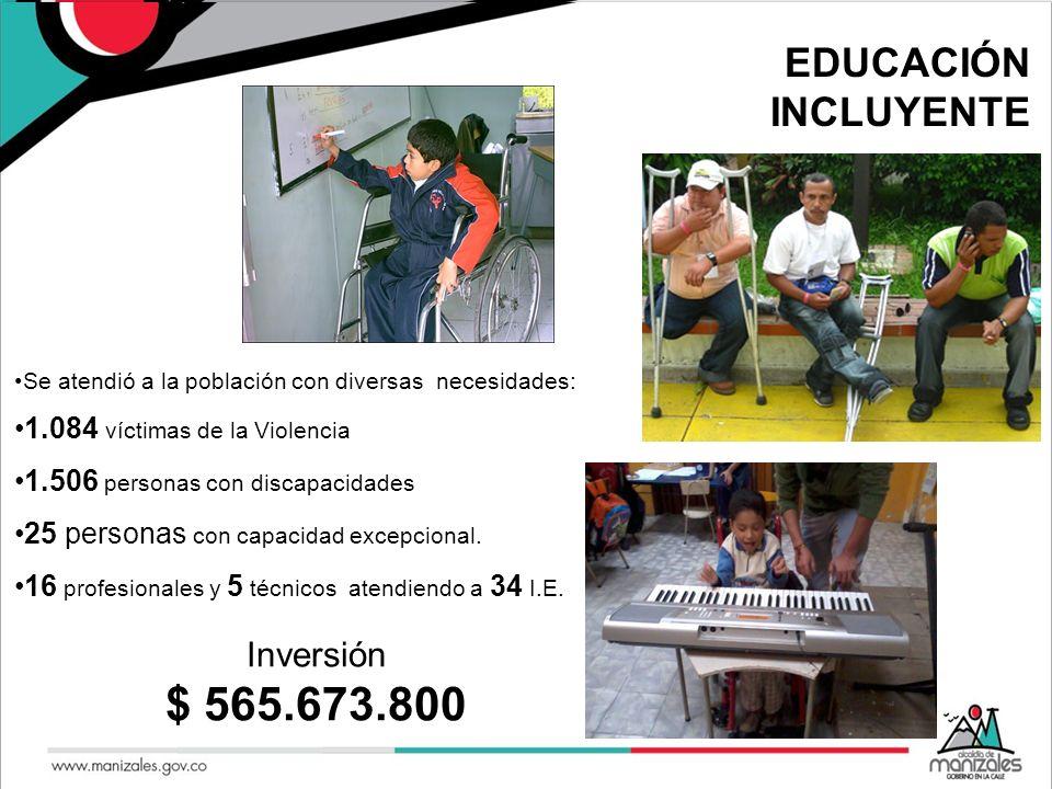 $ 565.673.800 EDUCACIÓN INCLUYENTE Inversión