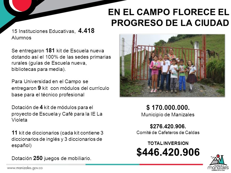 $446.420.906 EN EL CAMPO FLORECE EL PROGRESO DE LA CIUDAD