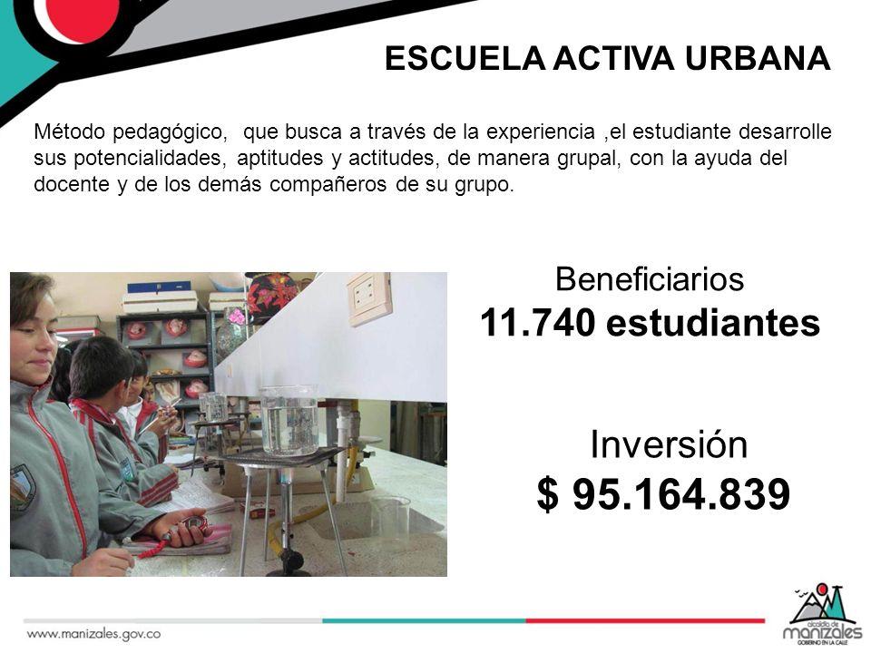 $ 95.164.839 11.740 estudiantes Inversión ESCUELA ACTIVA URBANA