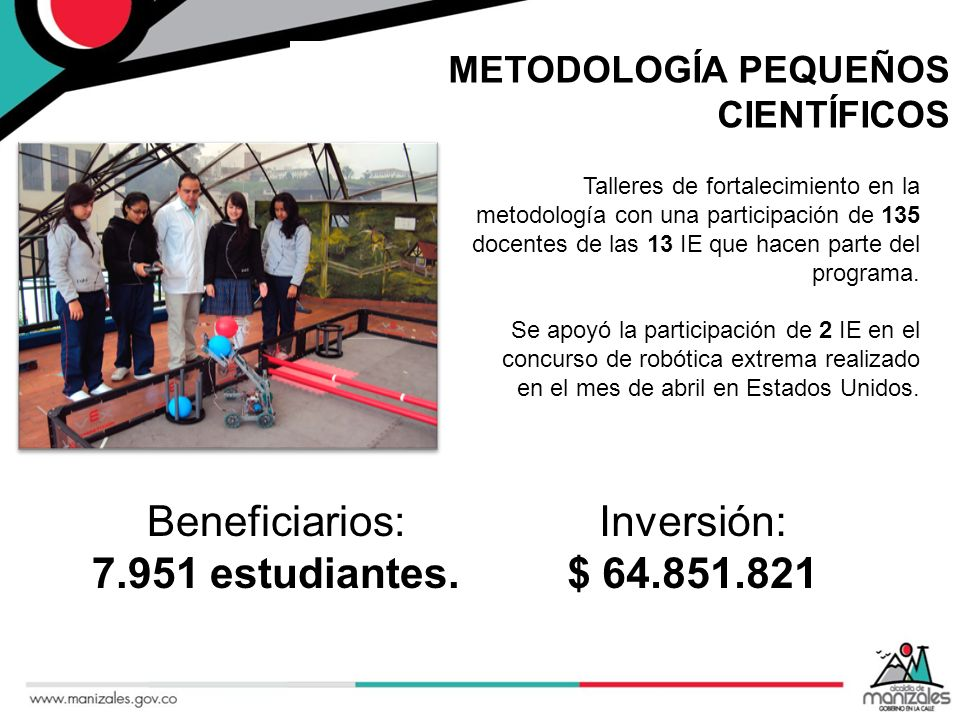 Beneficiarios: 7.951 estudiantes. Inversión: $ 64.851.821