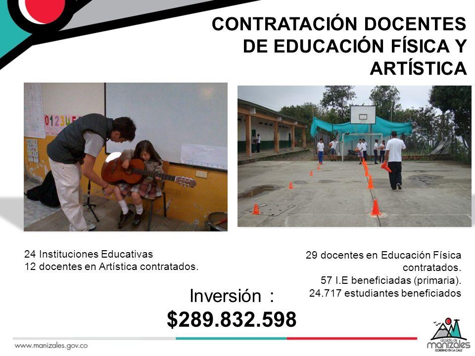 $289.832.598 CONTRATACIÓN DOCENTES DE EDUCACIÓN FÍSICA Y ARTÍSTICA