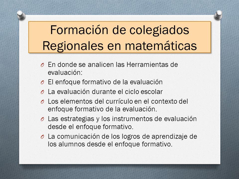 Formación de colegiados Regionales en matemáticas