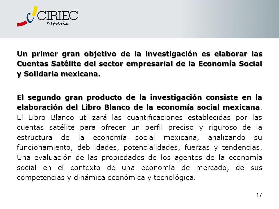 Un primer gran objetivo de la investigación es elaborar las Cuentas Satélite del sector empresarial de la Economía Social y Solidaria mexicana.