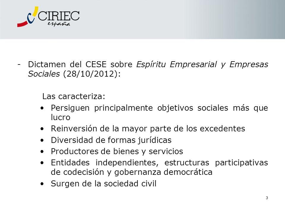 Dictamen del CESE sobre Espíritu Empresarial y Empresas Sociales (28/10/2012):
