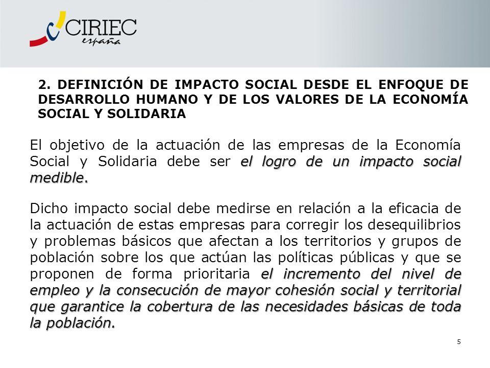 2. DEFINICIÓN DE IMPACTO SOCIAL DESDE EL ENFOQUE DE DESARROLLO HUMANO Y DE LOS VALORES DE LA ECONOMÍA SOCIAL Y SOLIDARIA