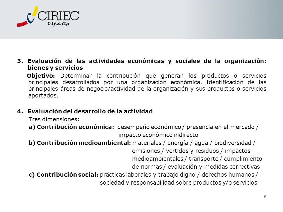 Evaluación de las actividades económicas y sociales de la organización: bienes y servicios