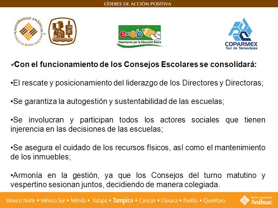 Con el funcionamiento de los Consejos Escolares se consolidará: