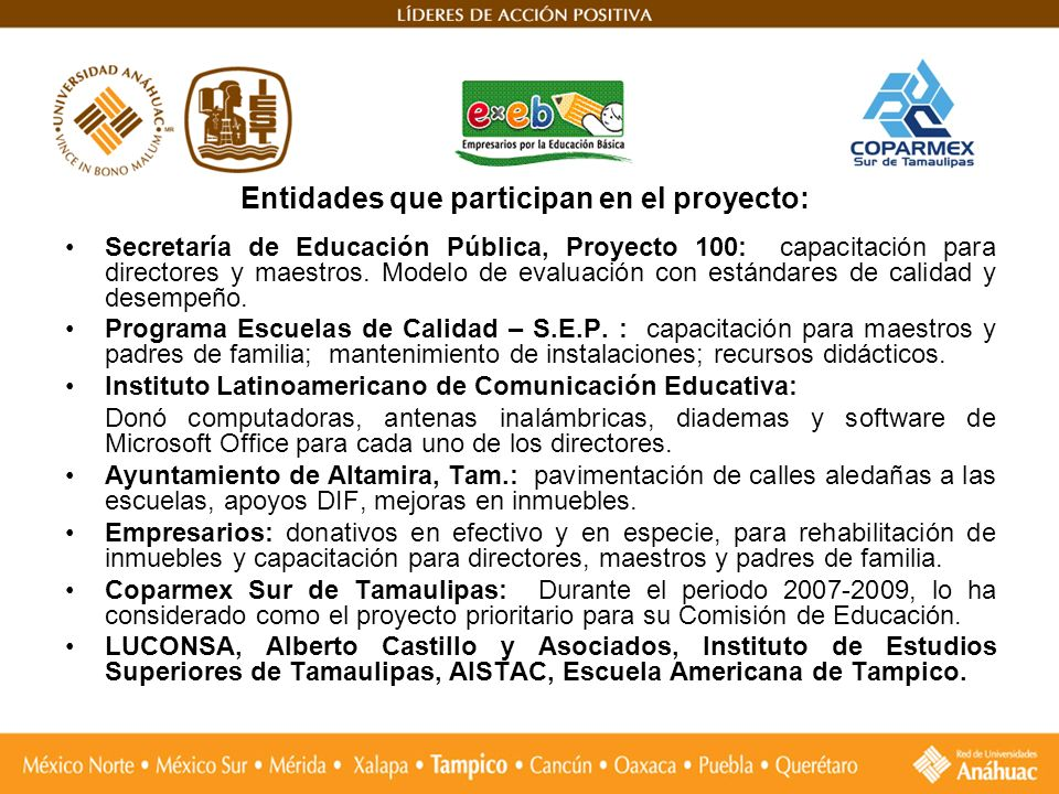 Entidades que participan en el proyecto: