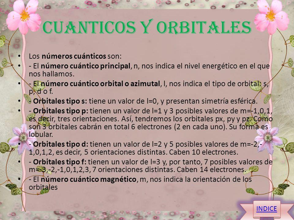 CUANTICOS Y ORBITALES Los números cuánticos son: