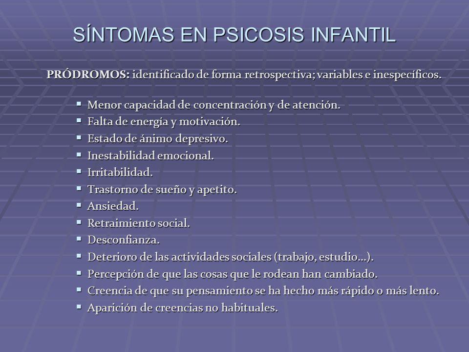 SÍNTOMAS EN PSICOSIS INFANTIL