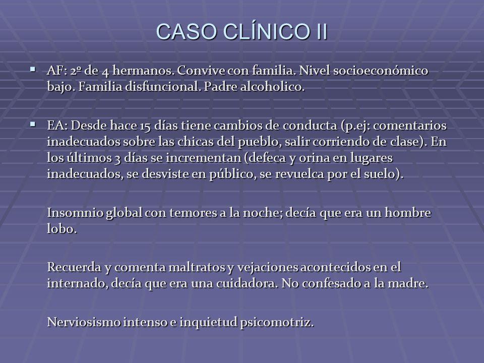 CASO CLÍNICO II AF: 2º de 4 hermanos. Convive con familia. Nivel socioeconómico bajo. Familia disfuncional. Padre alcoholico.