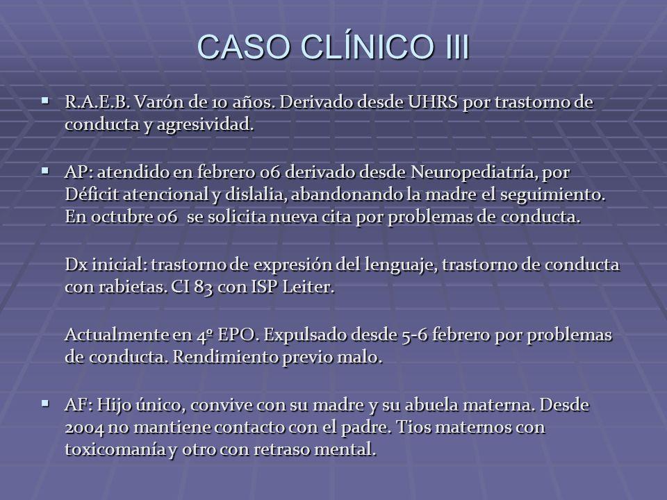 CASO CLÍNICO III R.A.E.B. Varón de 10 años. Derivado desde UHRS por trastorno de conducta y agresividad.