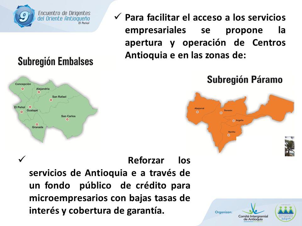 Para facilitar el acceso a los servicios empresariales se propone la apertura y operación de Centros Antioquia e en las zonas de: