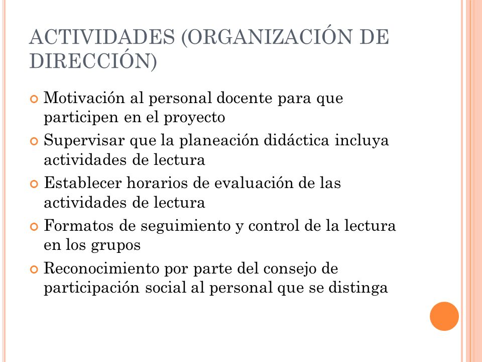ACTIVIDADES (ORGANIZACIÓN DE DIRECCIÓN)