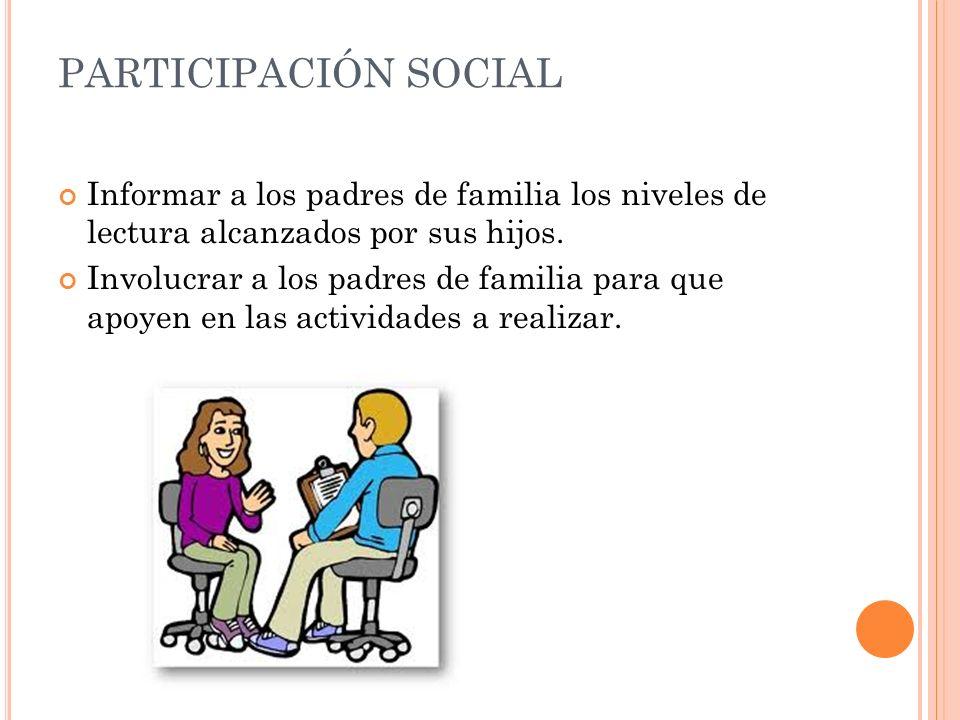 PARTICIPACIÓN SOCIAL Informar a los padres de familia los niveles de lectura alcanzados por sus hijos.