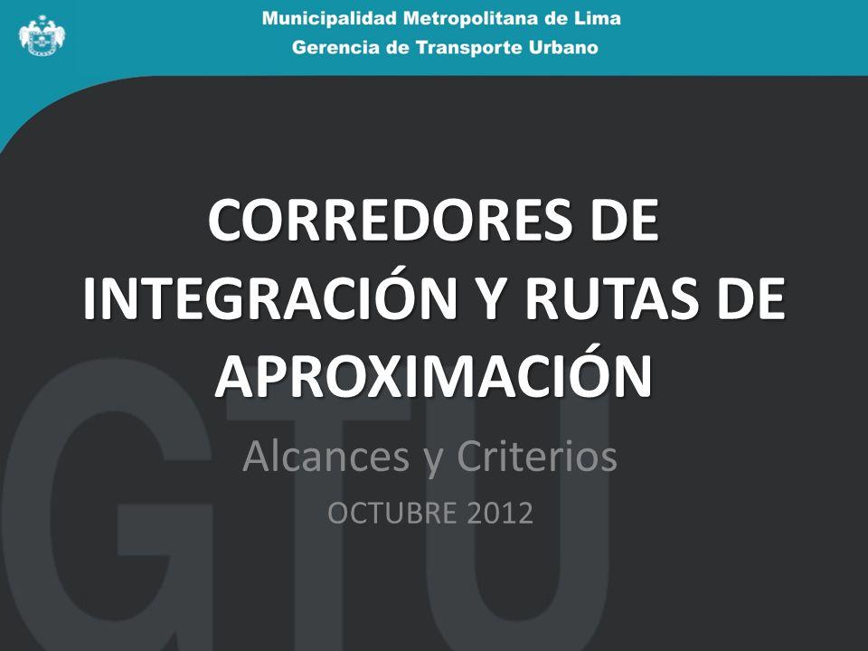 CORREDORES DE INTEGRACIÓN Y RUTAS DE APROXIMACIÓN