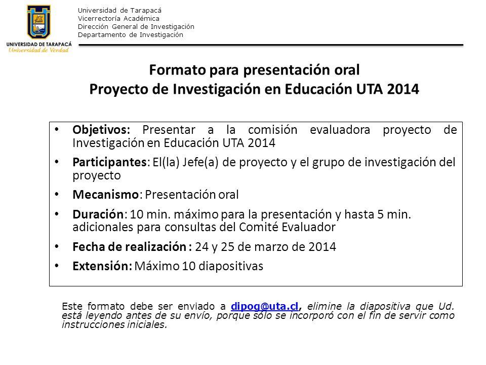 Formato para presentación oral