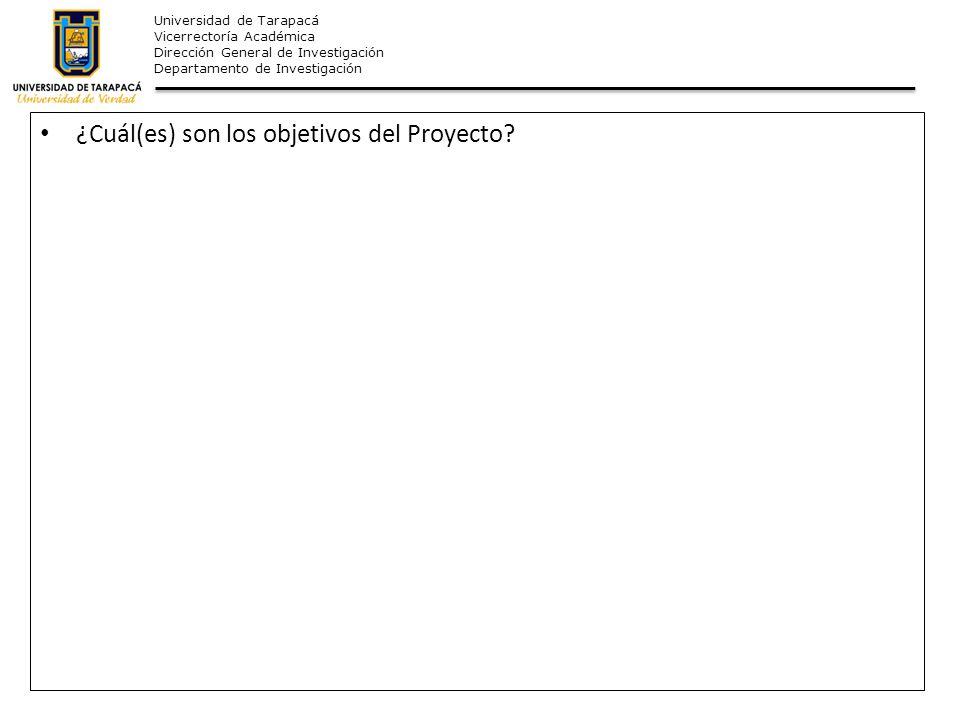 ¿Cuál(es) son los objetivos del Proyecto