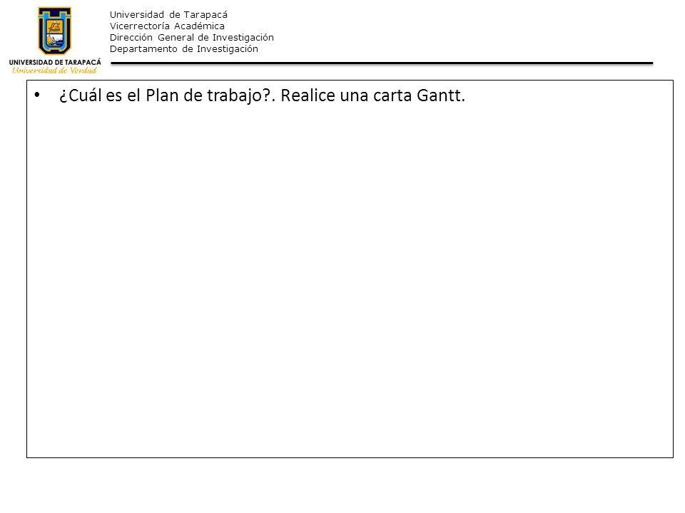 ¿Cuál es el Plan de trabajo . Realice una carta Gantt.